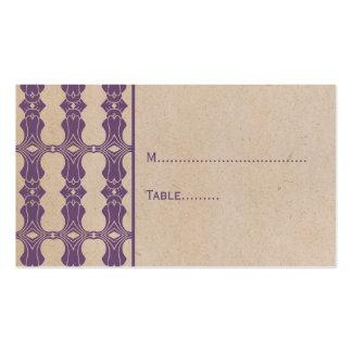 Purple Art Deco Border Place Card Business Card Template