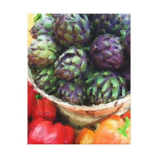 Purple Artichokes Bell Peppers Vegetables Canvas Print