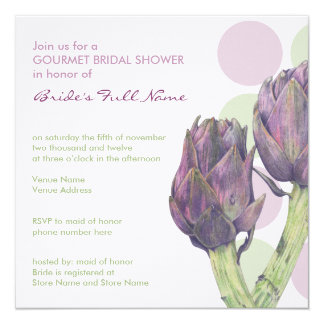 Purple Artichokes dots Bridal Shower Invitation