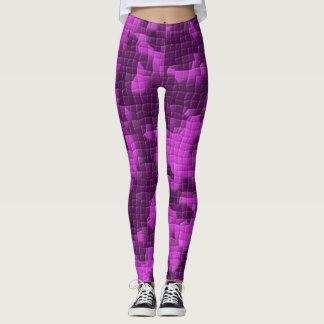 Purple Artistic Mosaic Patterned Leggings