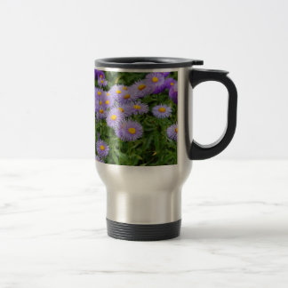Purple aster flower garden coffee mugs
