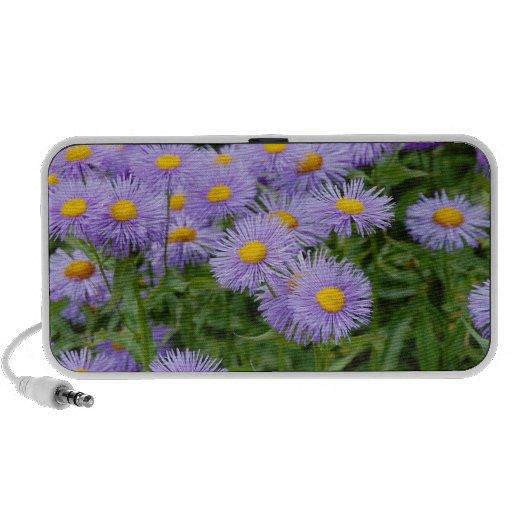 Purple aster flower garden portable speakers