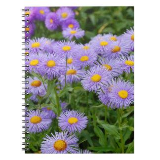 Purple aster flower garden spiral notebook