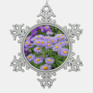 Purple aster flowers print christmas ornament
