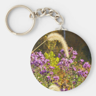 Purple Asters Basic Round Button Key Ring