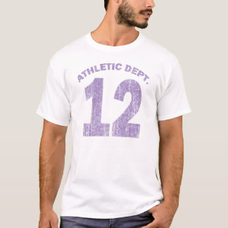 PURPLE ATHLETIC DEPT # 12 - AGED TEXT T-Shirt