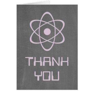 Purple Atomic Chalkboard Thank You Card