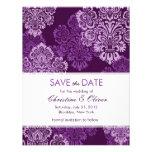 Purple Aubergine Damask Save the Date Custom Announcement