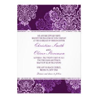 Purple Aubergine Damask Wedding Invitation