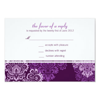 Purple Aubergine Damask Wedding Response Card 9 Cm X 13 Cm Invitation Card