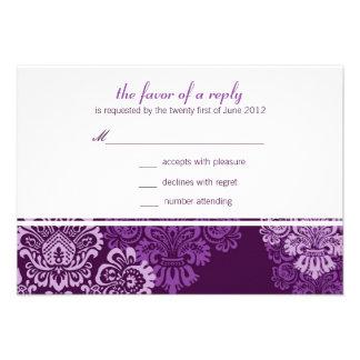 Purple Aubergine Damask Wedding Response Card Personalized Invitation