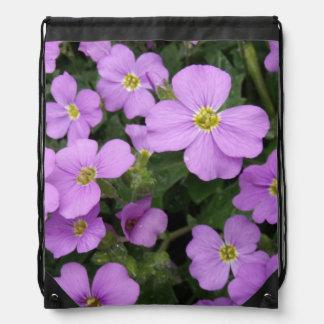 Purple Aubretia Flowers Drawstring Bag