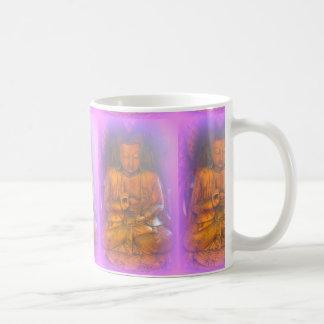 purple aura serene sitting buddhas coffee mug