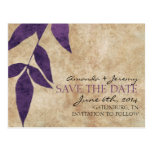 Purple Autumn Leaves Vintage Save the Date Post Card