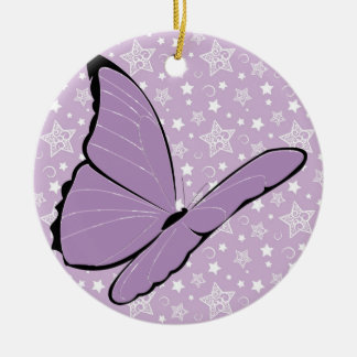 Purple Awareness Butterfly Christmas Ornament