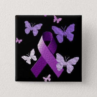 Purple Awareness Ribbon 15 Cm Square Badge