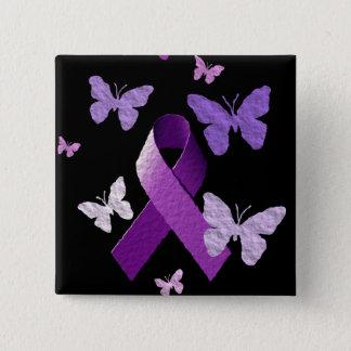 Purple Awareness Ribbon 15 Cm Square Badge