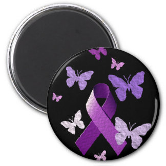 Purple Awareness Ribbon 6 Cm Round Magnet