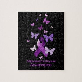 Purple Awareness Ribbon: Alzheimer's Disease Jigsaw Puzzle