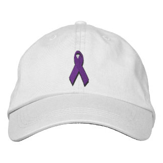 purple awareness ribbon embroidered hat