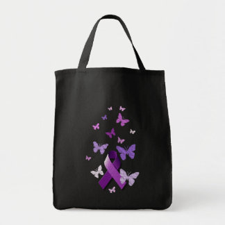 Purple Awareness Ribbon Grocery Tote Bag