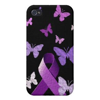 Purple Awareness Ribbon iPhone 4 Covers