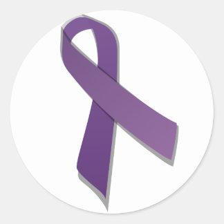 Purple awareness ribbon round sticker