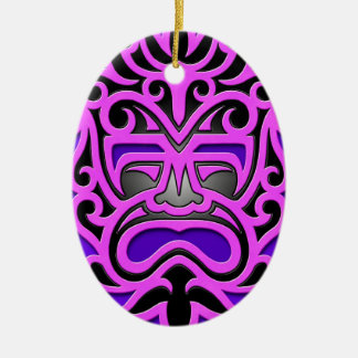 Purple Aztec Mask Christmas Ornament