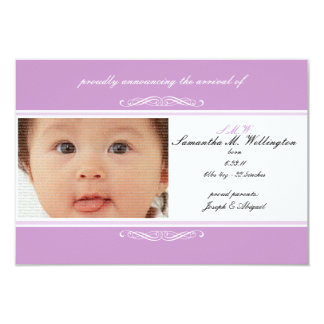 Purple Baby Announcement Cards