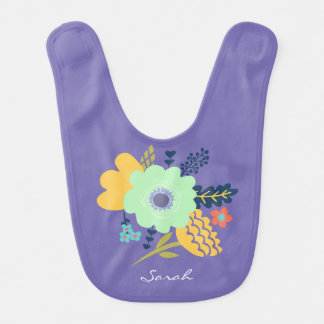 Purple baby bib with floral design