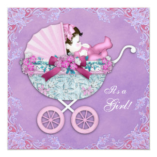 Purple Baby Carriage Baby Girl Shower 13 Cm X 13 Cm Square Invitation Card