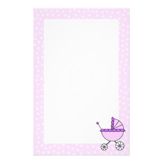Purple Baby Carriage Stationery