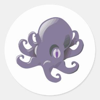 Purple Baby Octopus Round Sticker