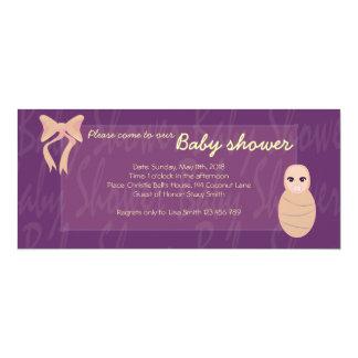 Purple Baby shower Baby in a bundle invitation