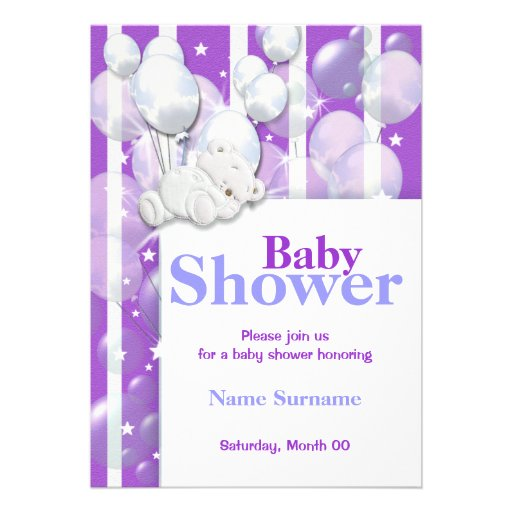 Purple baby shower cute bear personalized invite