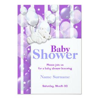 Purple baby shower cute bear 5x7 paper invitation card