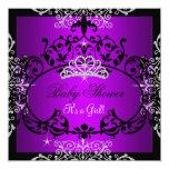 Purple Baby Shower Girl Princess Tiara Black Lace 13 Cm X 13 Cm Square Invitation Card