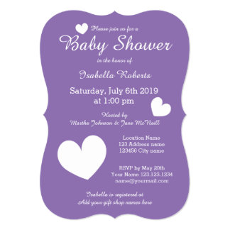 "Purple baby shower invitations with cute hearts 5"" x 7"" invitation card"