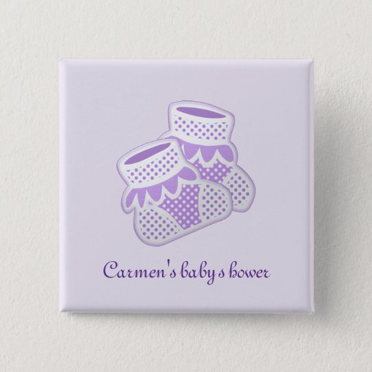 purple baby socks 15 cm square badge
