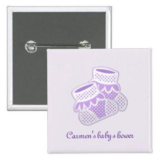 purple baby socks 15 cm square badge