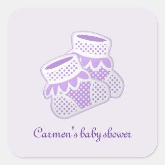purple baby socks square sticker