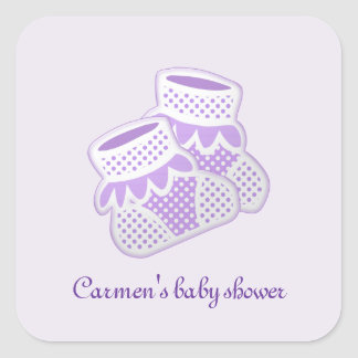 purple baby socks square stickers