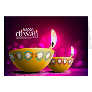Purple Background Beautiful Diwali Lamp Card