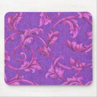 Purple Background Pink Acanthus Vine Mouse Pad