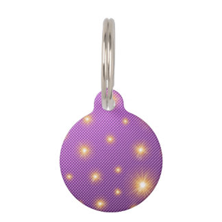 purple backgrounds and gold stars pet name tag