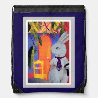 Purple Backpack - White Rabbit in Macke's Cafe