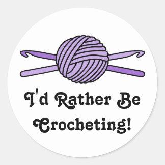 Purple Ball of Yarn & Crochet Hooks Classic Round Sticker