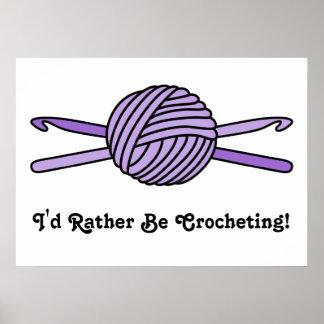 Purple Ball of Yarn & Crochet Hooks Posters