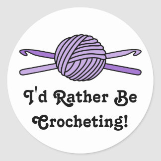 Purple Ball of Yarn & Crochet Hooks Round Sticker