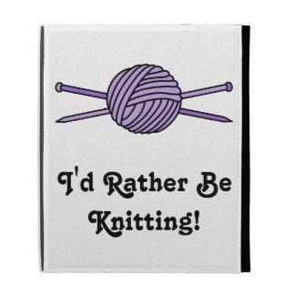 Purple Ball of Yarn & Knitting Needles iPad Folio Covers